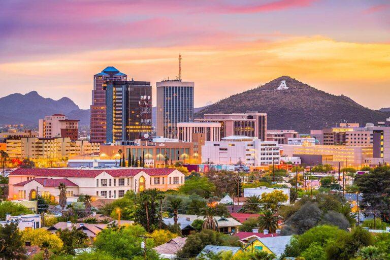 tucson arizona downtown view with A-Mountain Sunset backdrop